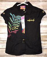 Akademiks Akdmks Girl's Black Embellished Shirt Size 24 Months Top