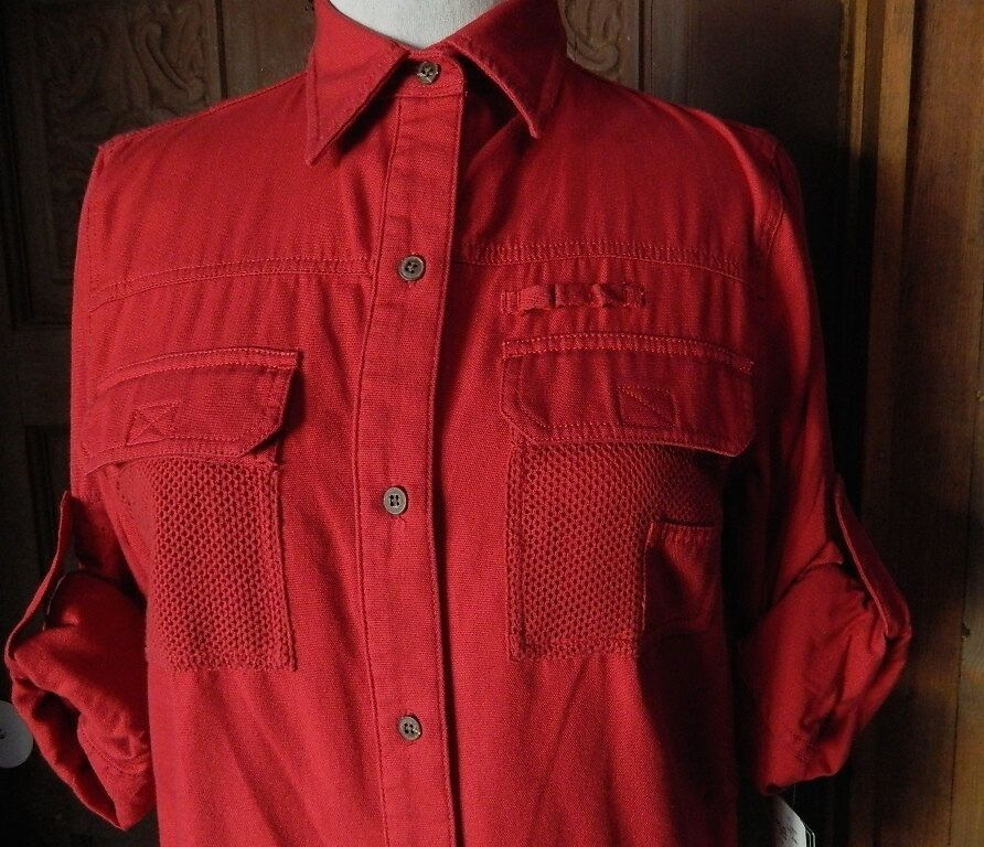 Vtg NWT Ralph Lauren TAHITI JEWEL rot ULTRA LIGHTWEIGHT  ROLL SLEEVE SHIRT S