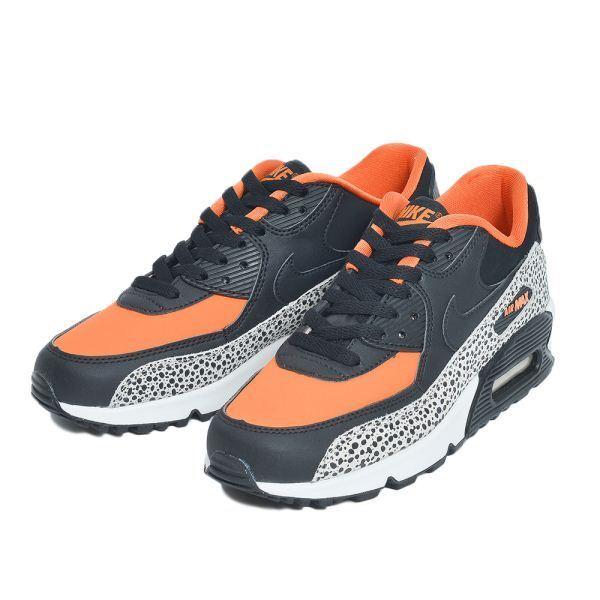 152f057769 Nike Air Max 90 GS Fashion Leather Glow Mesh Trainers All Sizes Safari Black  & Orange 100 UK 4 EU 36.5 for sale online | eBay