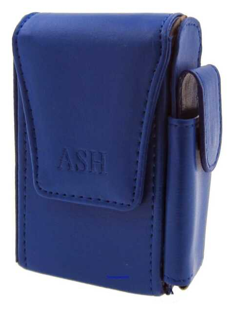 Cigarette Packet Case - Ash Dark Blue Leather Style with Lighter Holder NEW apc5