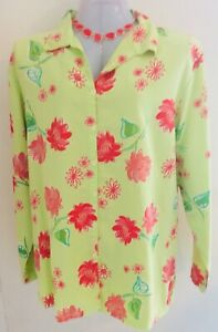 NWT-FRESH-PRODUCE-Blooming-flowers-Large-Tencel-Blouse-in-Kiwi-button-front