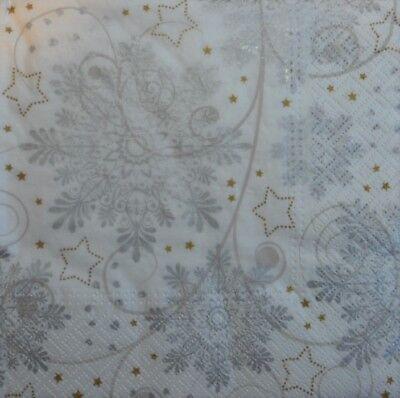 4 Christmas Paper Napkins snowflakes  pale grey an silver 4 Decoupage christmas