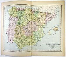Original Map of Spain & Portugal by J. Bartholomew 1877