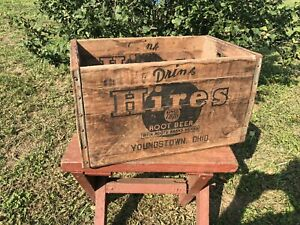 Vintage Rare Large HIRES ROOT BEER Wooden Soda Crate Youngstown Ohio
