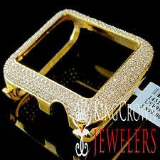 14K Yellow Gold On Real Sterling Silver Lab Diamond Case 42MM Apple Watch Bezel
