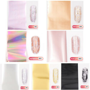 Rose-Gold-Nail-Foil-Silver-Holographic-Manicure-Nail-Art-Transfer-Decal-Tips-DIY