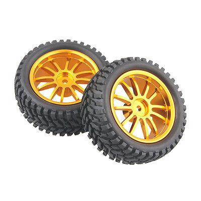 4x RC Aluminum Wheel Rubber Tires Sponge Rim HSP HPI 1:16 Off-Road Car 123G-7004