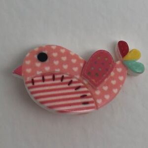 Patchwork-Peach-Pink-Bird-Brooch-Charms-Resin-Brooch-Pin-Badge-B403-Kitsch-Fun