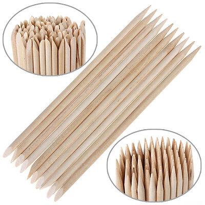100Pcs/Lot Orange Wood Stick Nail Art Cuticle Pusher Remover Manicure Polish