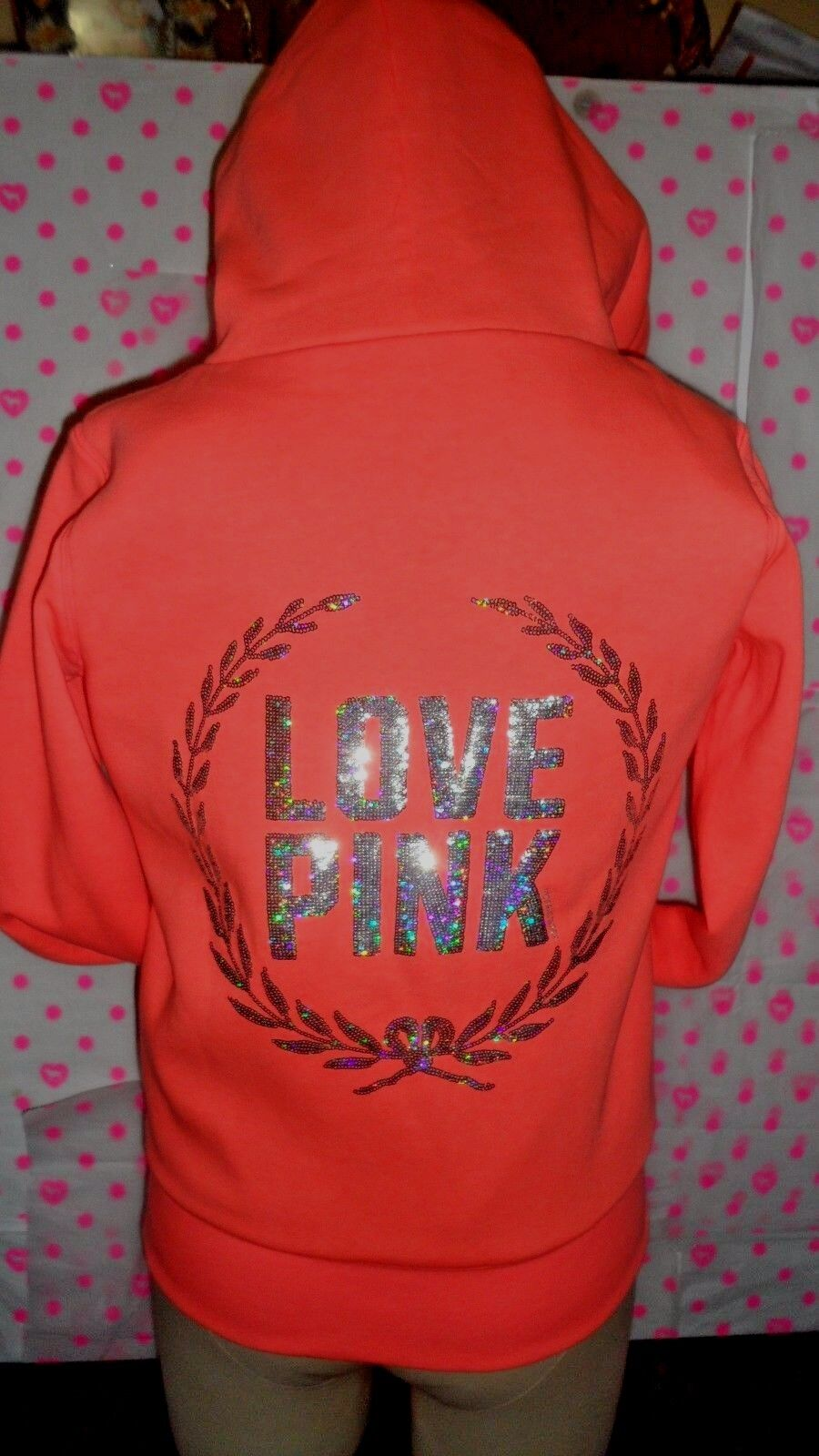 SALE Victoria's Secret Pink Bling Heavy Fur orange hoodie w Sequence SoldOut NWT