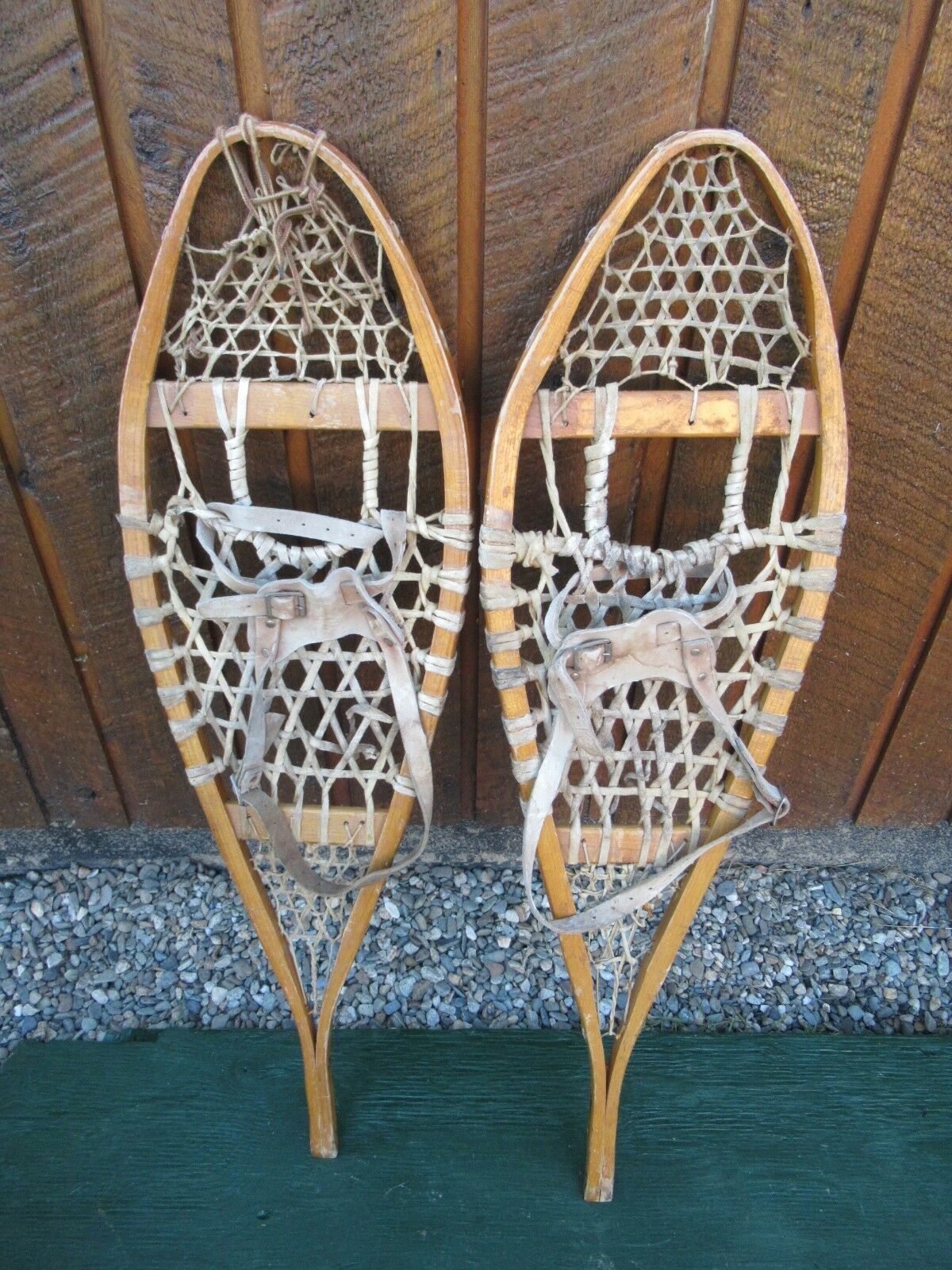 Snowschuhe 37  Long 11  Wide with Leather Bindings  Ready To Hang for Decoration