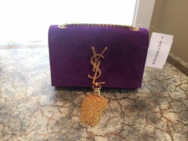 NEW! Saint Laurent Monogram Small Suede Tassel Crossbody Bag,Purple