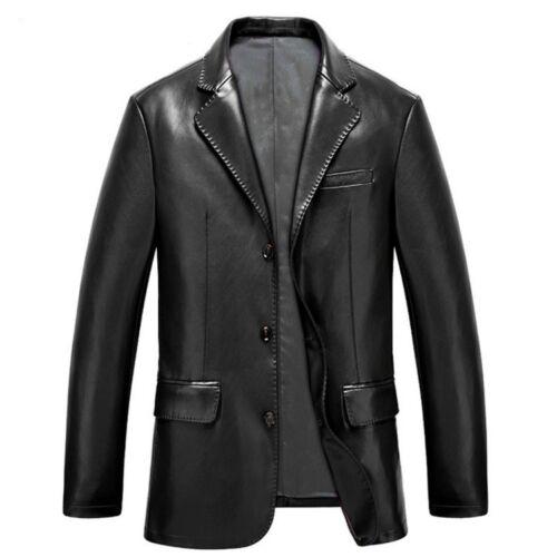 Hommes Cuir Lapel Slim Casual affaires Blazer Veste Manteau Stand Collier D528