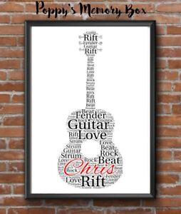Guitar Music Word Art Bespoke Keepsake Birthday Christmas Print Gift