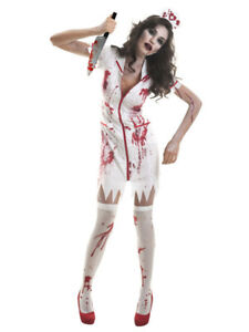 Womens-Zombie-Nurse-Uniform-Halloween-Fancy-Dress-Costume-Hat-Horror-Outfit