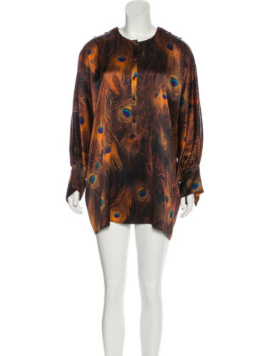 Givenchy  Peacock-Print Poet-Sleeve Blouse-TUNIC