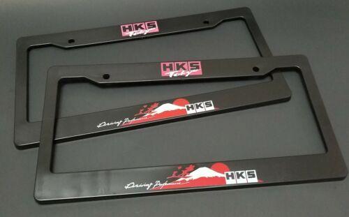 x2 HKS Racing License Plate Frame For Universal Mazda Mitsubishi Nissan Honda