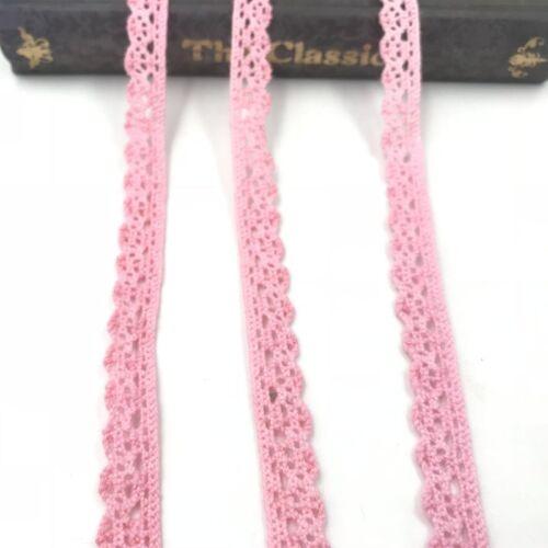 DIY  10Yard Pink Crochet Lace Trim Wedding Bridal Ribbon Sewing handcrafts
