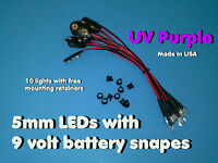 10 Pcs 5mm Uv Purple Pre Wired Leds 9 Volt Water Clear Led On Battery Snaps 9v
