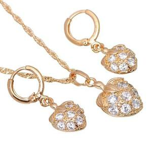 Independent Jewellery Set Necklace Pendant Earrings 750 18 Kt Gold-plated S1001-1 Fine Jewelry