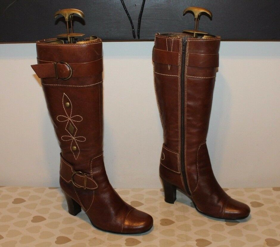 Braun Leder Zip Buckle Heel Side Mid Calf High Heel Buckle Casual Riding Stiefel Größe 5 / 38 52f77f