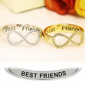 BFF-Letter-Best-Friend-Siver-amp-Gold-Punk-Infinity-8-Bowknot-Friendship-Rings-New