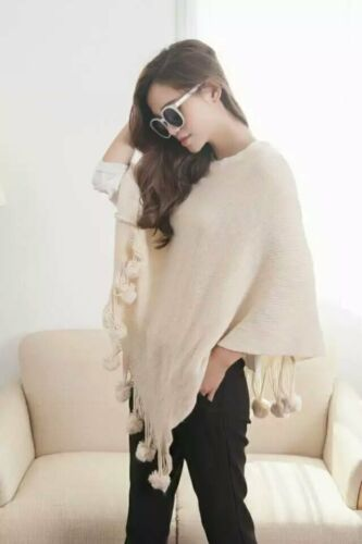 Ladies Poncho Stole Cape Shrug Wrap Shawl Jacket Jumper Sweater Top Pom Pom 8-18