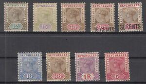 D3014-BRITISH-SEYCHELLES-VICTORIA-1893-1900-MINT-MH-LOT-CV-185