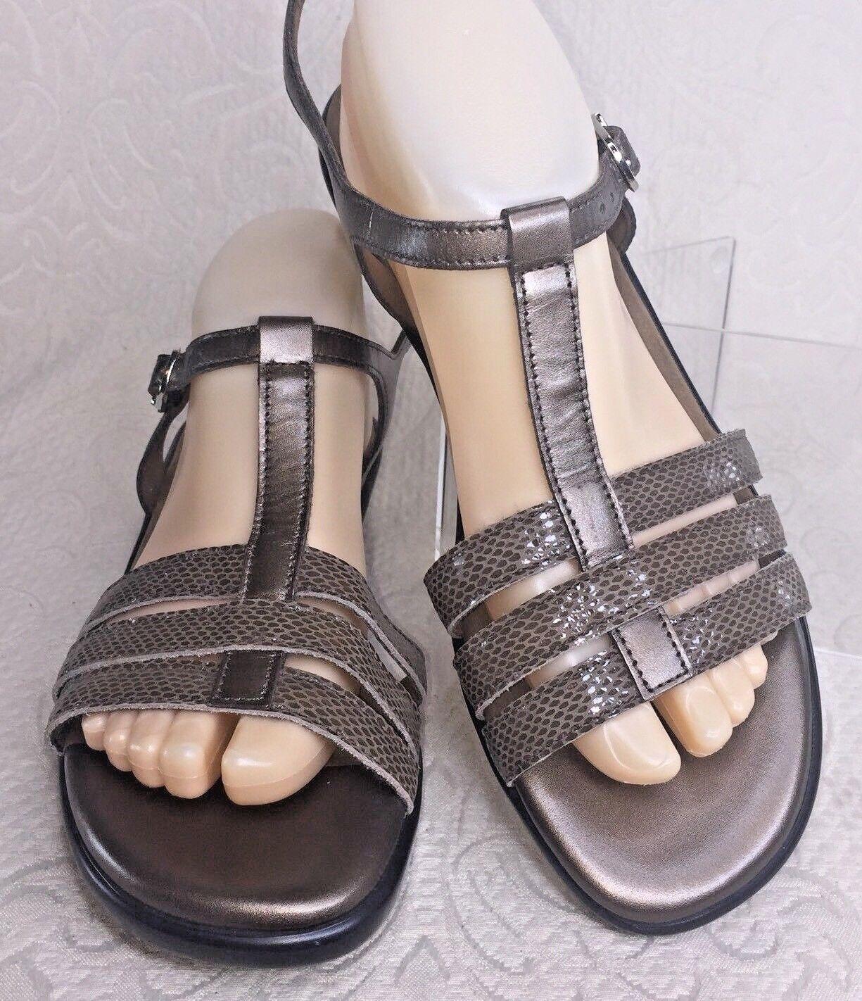 SAS Damens 10 M Bronze Sandale CAPRI Leder Gold Braun Snake Slingback Wedge Schuhe