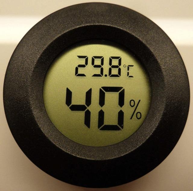 Digital Cigar Humidor Hygrometer Thermometer Temperature Round Black NEW