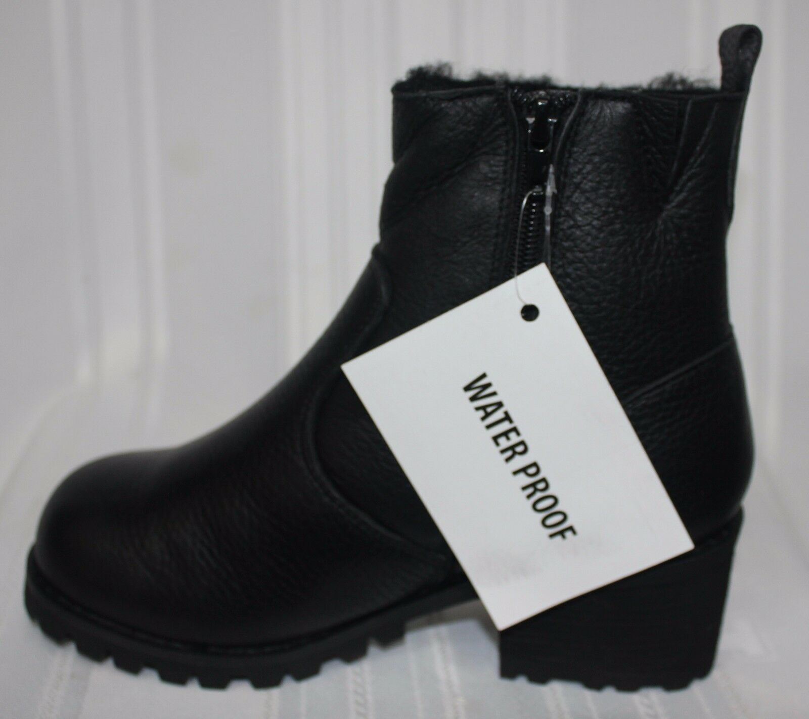 Jeffrey Campbell CORNELL waterproof fur Leder lined Stiefel schwarz pebble Leder fur NEW 6b3f65