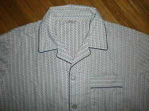 Vintage Jc Penney Pyjama Ensemble Tenue Pantalon Chemise Mod Géométrique Blanc 100% De MatéRiaux De Haute Qualité
