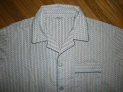 Vtg Jc Penney Pyjama-set Outfit Hose Hemd Mod Geometrisch Weiß Rot Blau Xl