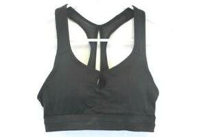 Champion-Racer-Back-Black-Sports-Bra-Mesh-Cross-Back-Keyhole-Front-Womens-Small