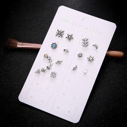 14pcs Mini Silver Plated Sun Moon Cute Rose Crown Shape Stud Earrings IT