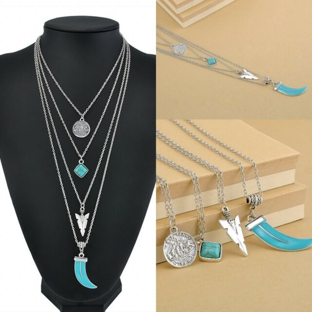 Women Boho Bohemian Simple long bar 4 Layers Turquoise Silver color Necklace Hot