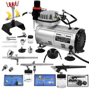 Image Is Loading New 3 Airbrush Amp Compressor Kit Dual Action