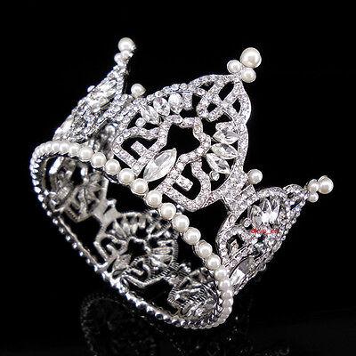 6cm High Full Crystal Cream Pearl Circle Round Bridal Party Prom Tiara Crown