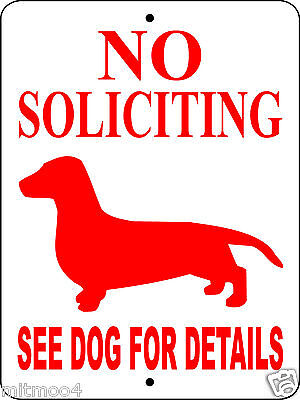 "DACHSHUND DOG SIGN,NO SOLICITING SIGN,9""x12"" ALUMINUM SIGN,GUARD,NSD DOG SIGN,"