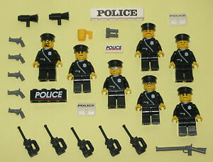 LEGO minifigures 7 Policemen SWAT TEAM Minifigs Lot Police People Toys Guns City