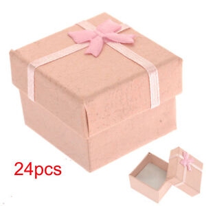 24pcs Ring Earring Jewelry Display Present Gift Box Bowknot Square Case Package