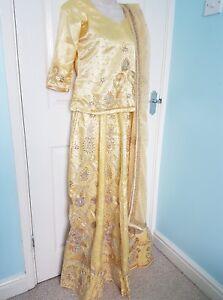Lengha-Saree-Sari-Salwar-Kameez-Indian-Bollywood-Fancy-Dress-Costume-S-Gold