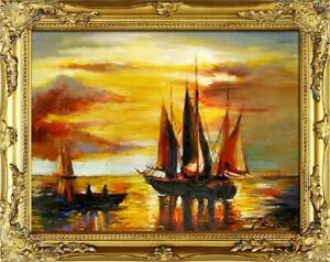 Painting-Oil-Painting-Picture-Oil-Frame-Pictures-Sea-Ships-Oil-Painting-G05416