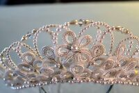 Tiara Headdress White Flower Pearl Beads Satin Loops Prom Pageant Wedding