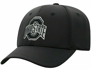 OHIO-ST-STATE-BUCKEYES-NCAA-ALL-BLACK-STRETCH-FLEX-FIT-1FIT-TOW-CAP-HAT-NEW