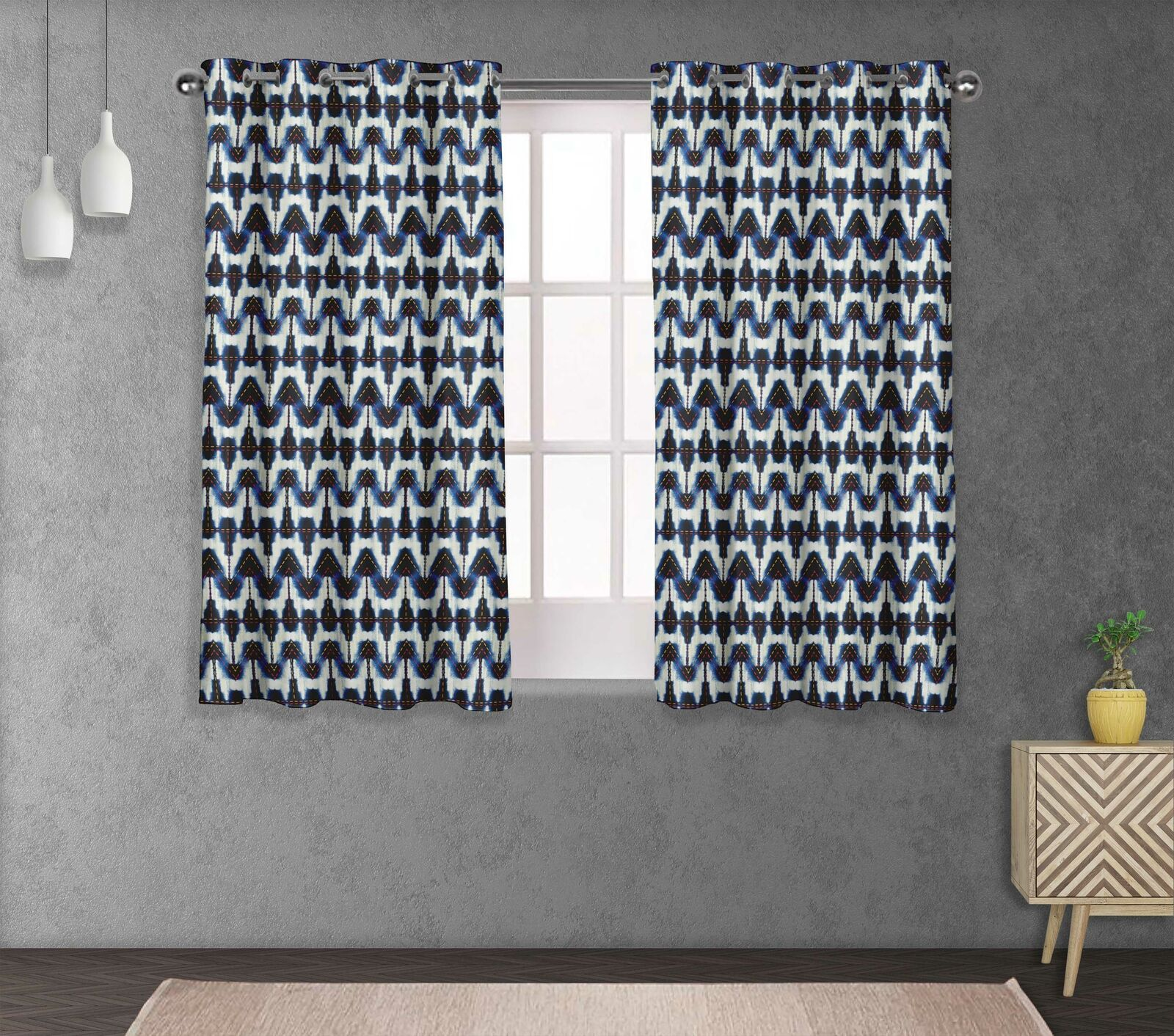 S 4 Sassy Chevron Doble Panel Cortina de tratamiento de ventana-SH-3A
