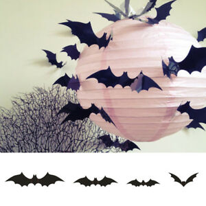 Image Is Loading 12x Scary Bats Wall Stickers Party