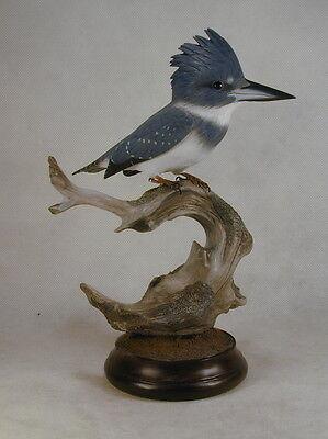 Belted Kingfisher Original Bird Wood Carving