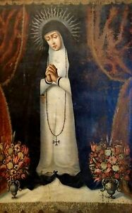 SAINT-DOMINICAN-NUN-OIL-ON-CANVAS-ANONYMOUS-REENTED-SPAIN-XVII-CENTURY