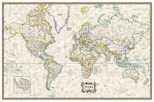 """World Classic Executive Wall Map Poster - 36""""x24"""" Rolled Paper 2020"""